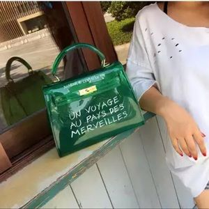 Bags - Transparent candy color PU Tote Shoulder bag